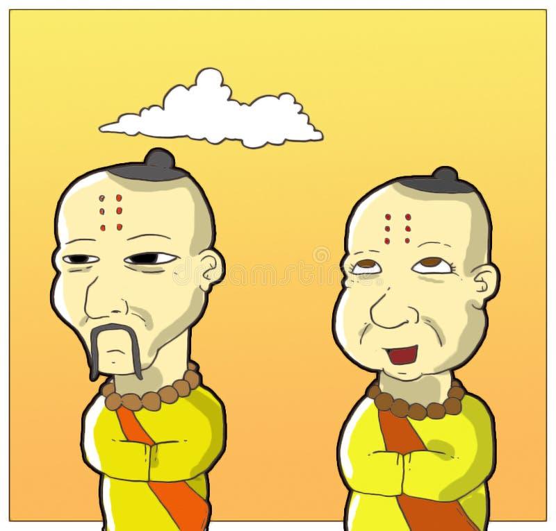 Gelukkige monnik en droevige monnik royalty-vrije illustratie