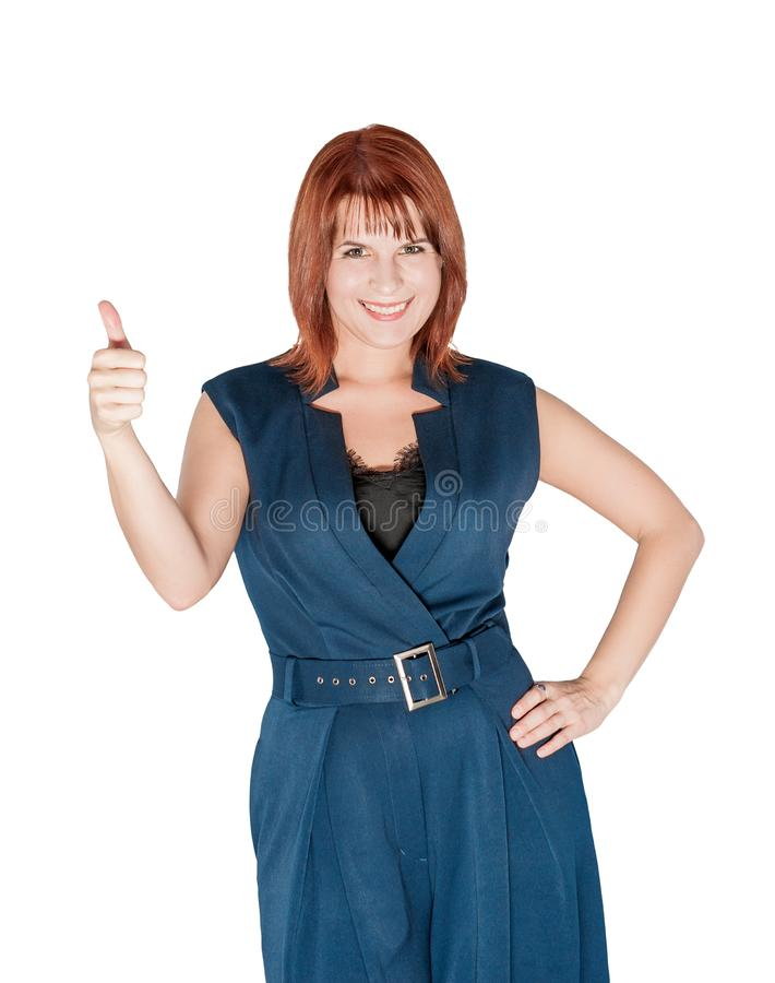 Gelukkige mooie bedrijfsvrouw die omhoog geïsoleerde duimen tonen royalty-vrije stock foto