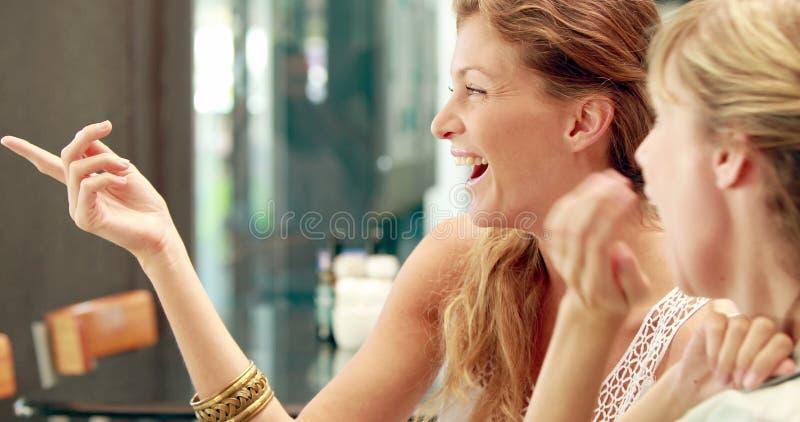 Gelukkige mooie blondevrienden die in cafetaria bespreken