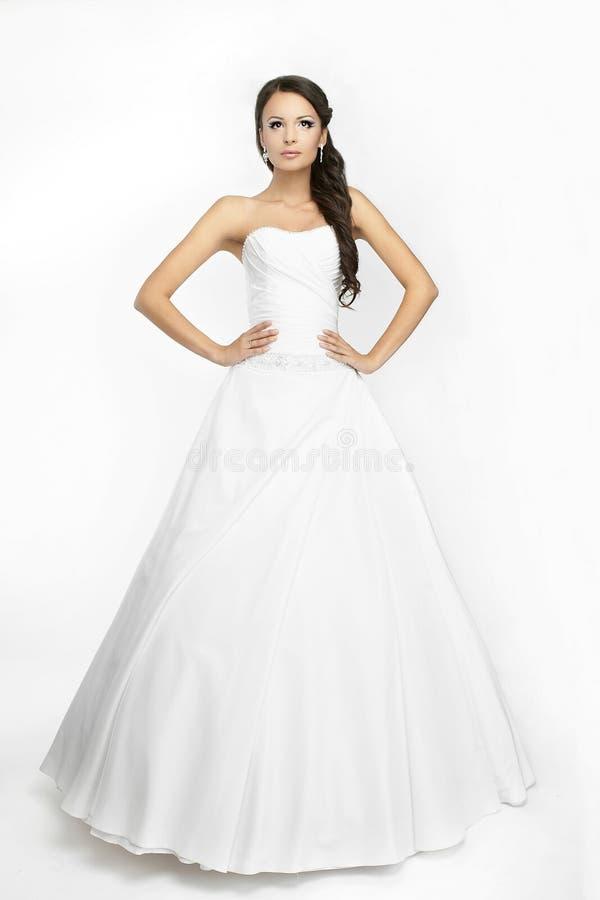 Gelukkige mooie bruid witte achtergrond op doek royalty-vrije stock foto's
