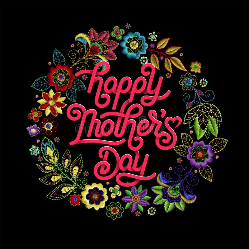 Gelukkige mooie de groetkaart van de Moedersdag Heldere vectorillustratie met bloemenpatroon van de borduurwerk het kleurrijke te royalty-vrije illustratie