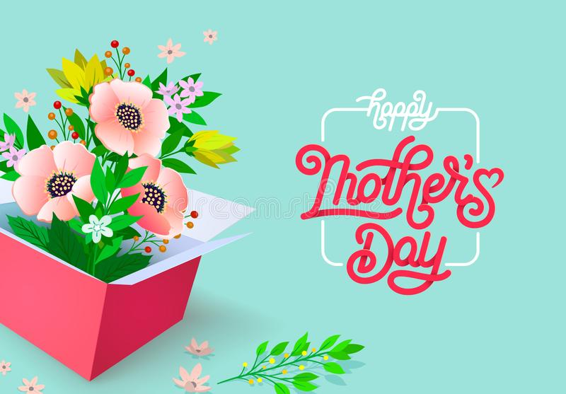 Gelukkige mooie de groetkaart van de Moedersdag Heldere vectorillustratie met kleurrijke tendens bloemenpatroon en moedersdag royalty-vrije illustratie