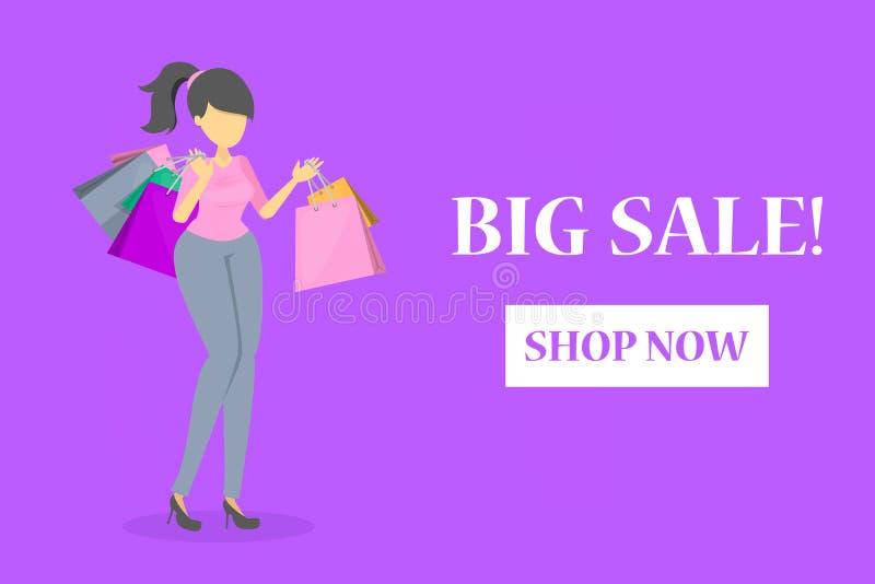 Gelukkige mooie vrouw in rode kleding met het winkelen stock illustratie