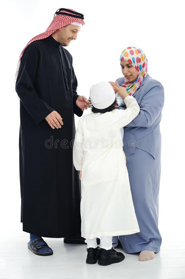 Gelukkige Moslimfamilie stock foto's