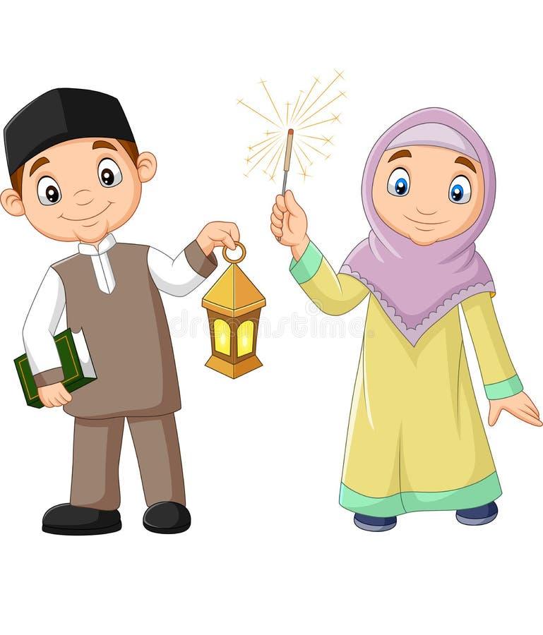 Gelukkige Moslimjonge geitjes met Quran-Boek en Ramadan Lantern vector illustratie