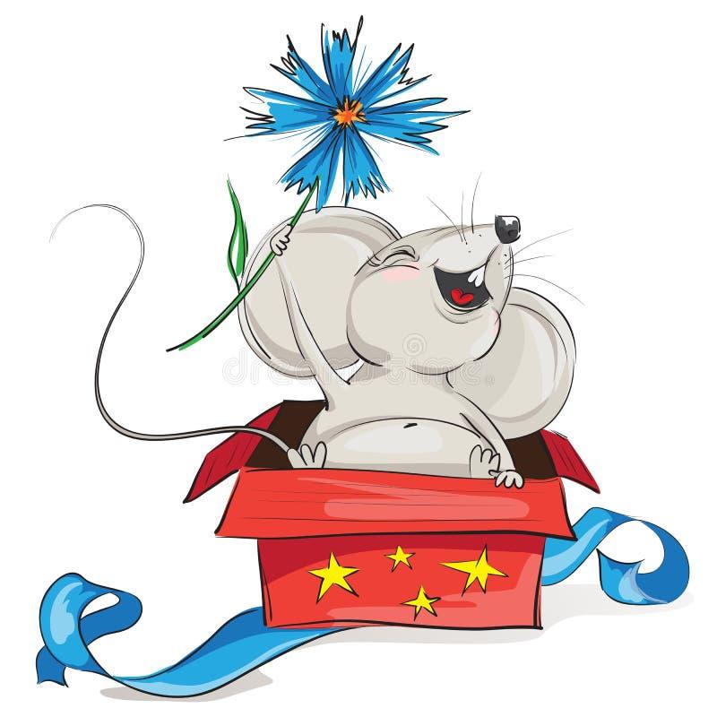 Gelukkige muis in een rode giftdoos royalty-vrije stock afbeeldingen