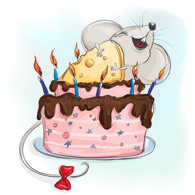 Gelukkige muis met een cake stock afbeelding