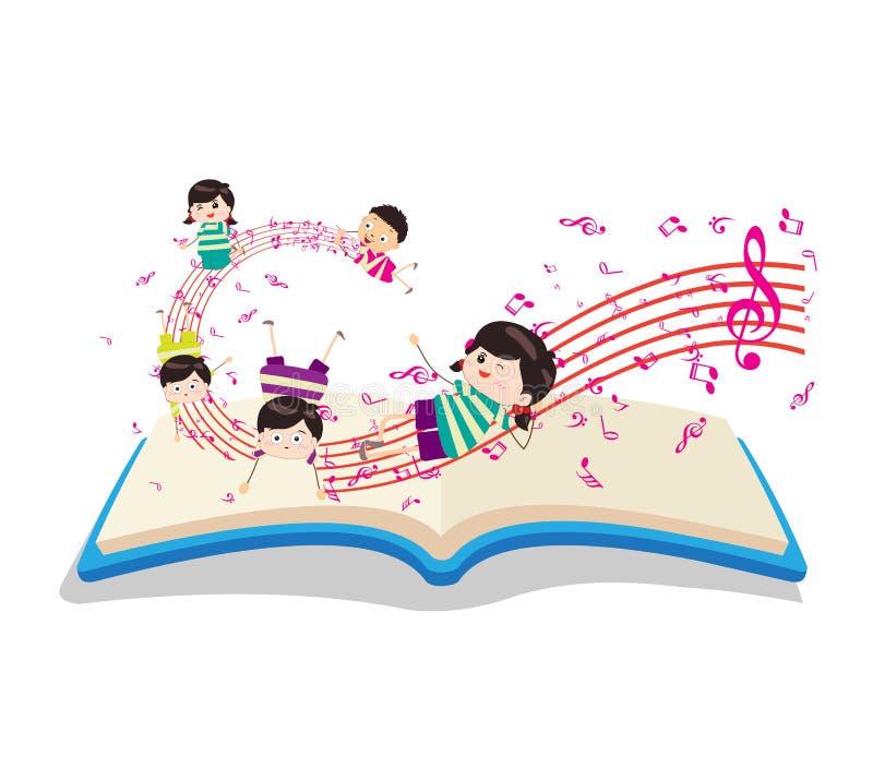 Gelukkige Muziekjonge geitjes met boek royalty-vrije illustratie