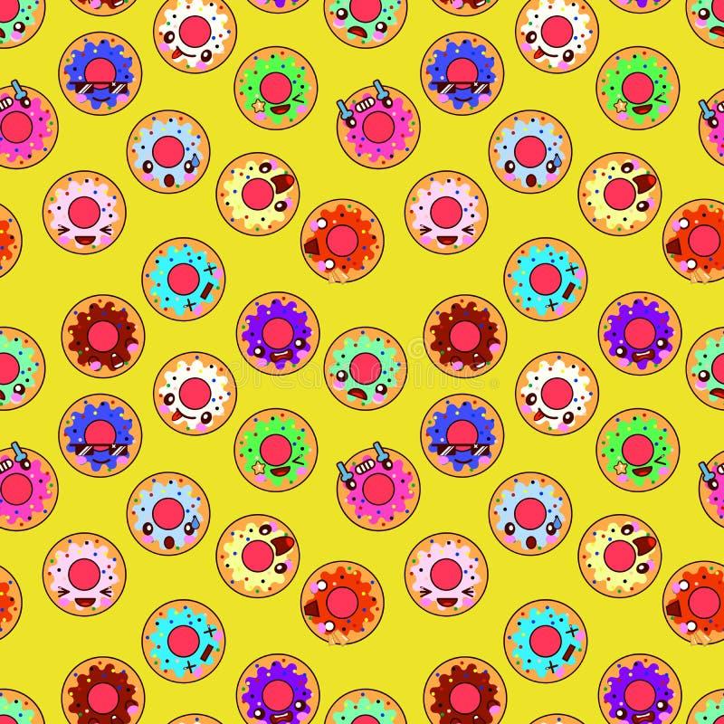 Gelukkige Naadloze het Patroonachtergrond van Donuts Perfectioneer voor stof, het scrapbooking, jonge geitjes, keuken, en de proj stock illustratie