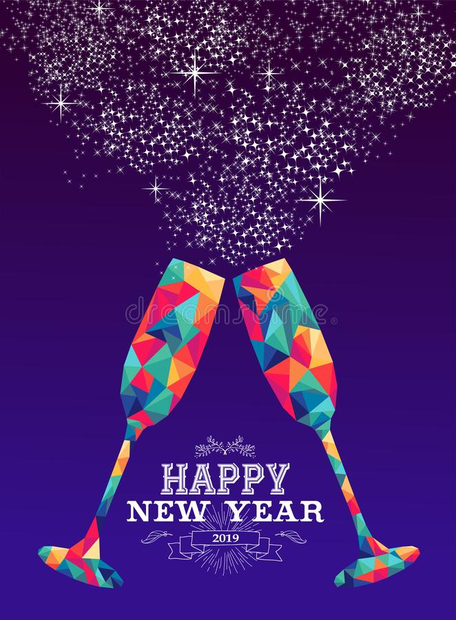 Gelukkige nieuwe de driehoeks hipster kleur van het jaar 2019 glas vector illustratie