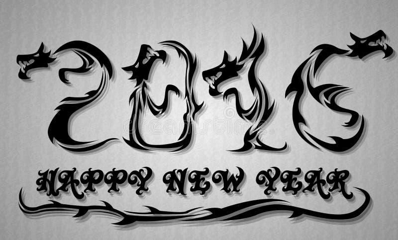 gelukkige nieuwe het jaardraak van 2016 vector illustratie