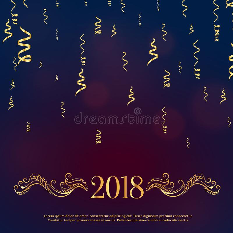 Gelukkige nieuwe het jaargroet van de luxestijl 2018 met gouden bloemendec royalty-vrije illustratie