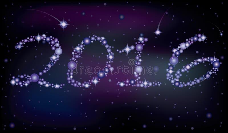 Gelukkige Nieuwe het Jaarkaart van 2016, vector illustratie