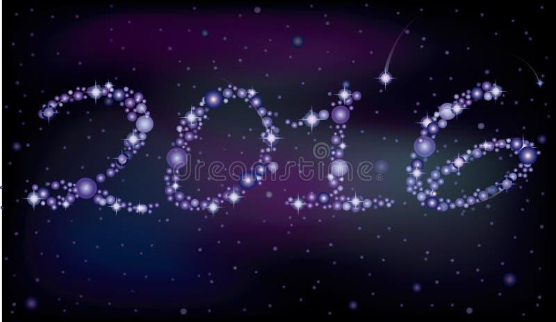Gelukkige Nieuwe het Jaarkaart van 2016, vector stock illustratie