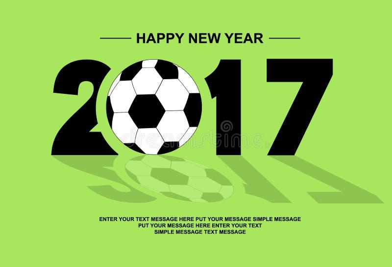 gelukkige nieuwe het jaarvoetbal van 2017 royalty-vrije illustratie