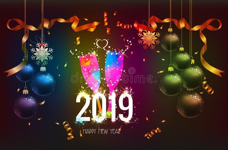 Gelukkige nieuwe jaar 2019 achtergrond met gouden en zwart de kleurenkant van Kerstmisconfettien voor tekst stock illustratie