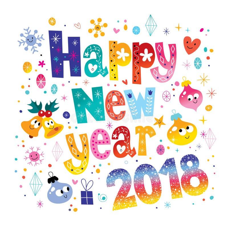 Gelukkige Nieuwe jaar 2018 kaart vector illustratie