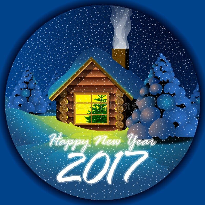 Gelukkige nieuwe jaar 2017 kaart met een blokhuis vector illustratie