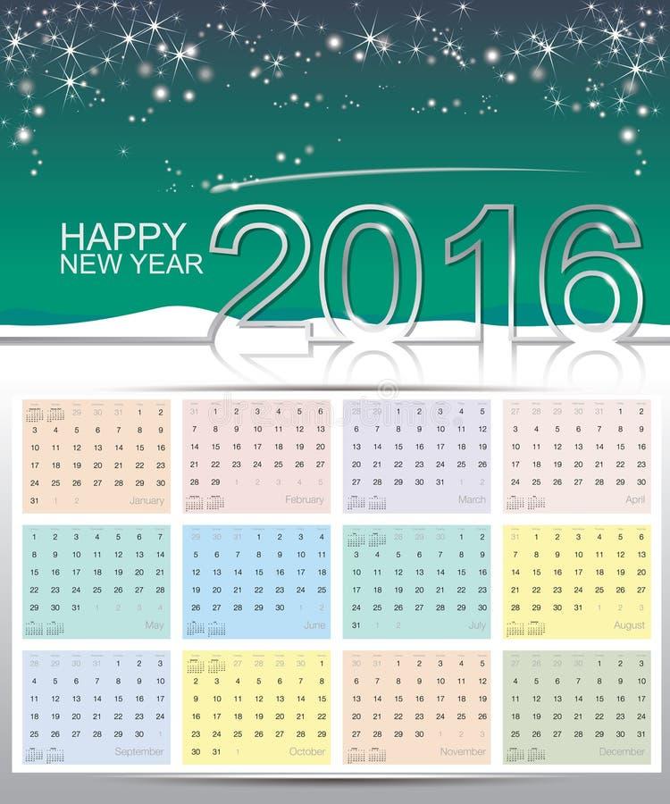 Gelukkige nieuwe jaar 2016 kalender royalty-vrije stock afbeeldingen