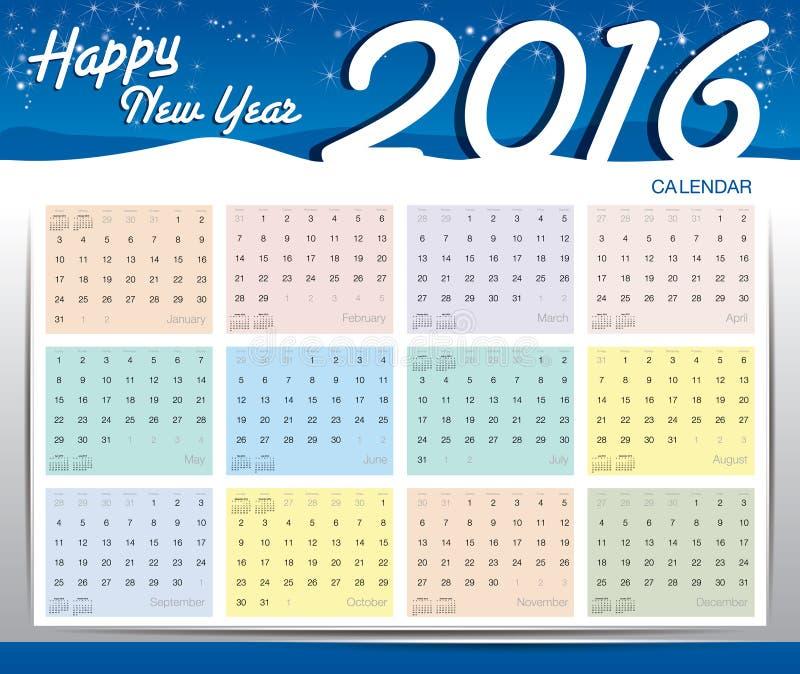 Gelukkige nieuwe jaar 2016 kalender royalty-vrije stock afbeelding