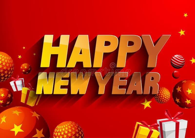Gelukkige nieuwe jaar rode achtergrond stock illustratie