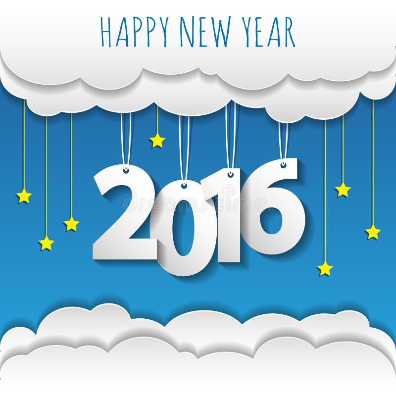 Gelukkige nieuwe jaar 2016 wolk en hemelachtergrond stock illustratie