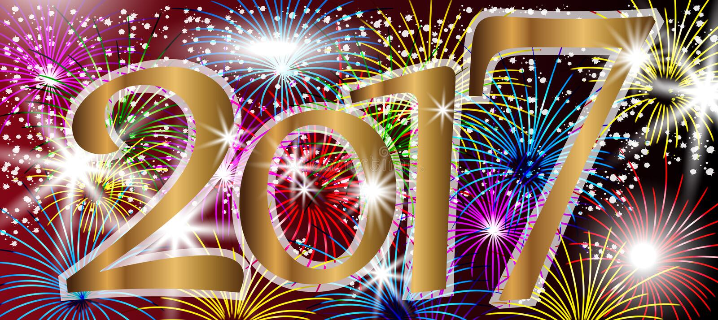 2017 Gelukkige nieuwe jaarachtergrond met vuurwerk vector illustratie