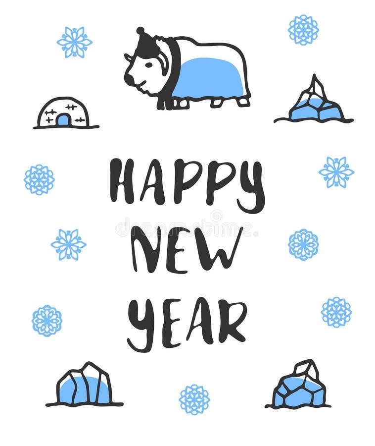 Gelukkige nieuwe jaaraffiche met het van letters voorzien Grappige krabbel muskus-os royalty-vrije illustratie