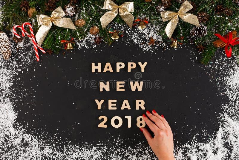 Gelukkige nieuwe jaargroet, decoratieachtergrond stock foto's