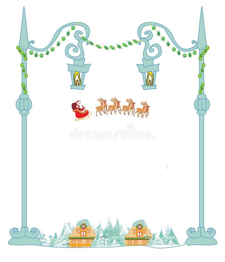 Gelukkige Nieuwe jaarkaart met Kerstman en de winterlandschap royalty-vrije illustratie