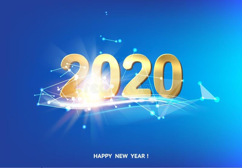 Gelukkige nieuwe jaarkaart over blauwe achtergrond met witte veelhoekige lijnen royalty-vrije illustratie
