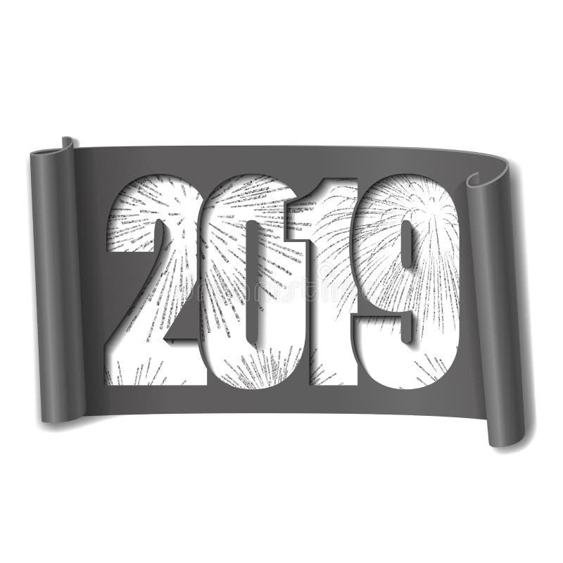 Gelukkige nieuwe jaarkaart Wit nummer 2019, zilveren vuurwerk 3D rol isoleerde witte achtergrond Grijs lint handscroll vector illustratie