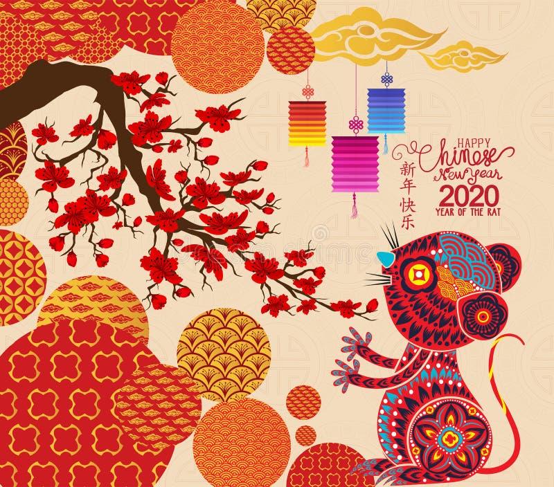 Gelukkige nieuwe jaarrat 2020 De kaart van de malplaatjegroet in oosterse stijl De Chinese karakters bedoelen Gelukkig Nieuwjaar royalty-vrije illustratie