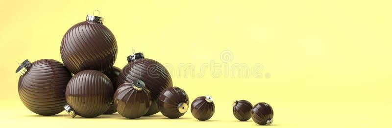 Gelukkige nieuwe jaarsamenstelling met de decoratie van het chocoladespeelgoed vector illustratie