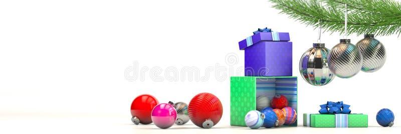 Gelukkige nieuwe jaarsamenstelling met de decoratie van het kleurenspeelgoed en magische doos royalty-vrije illustratie