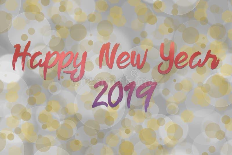 Gelukkige nieuwe jaartekst met bokeh en het patroon van de lensgloed royalty-vrije stock foto's