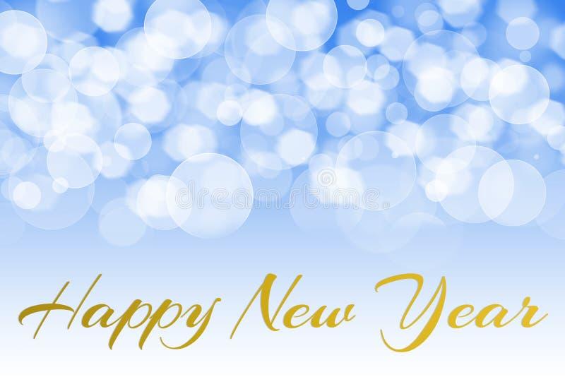 Gelukkige nieuwe jaartekst met bokeh en het patroon van de lensgloed stock afbeeldingen