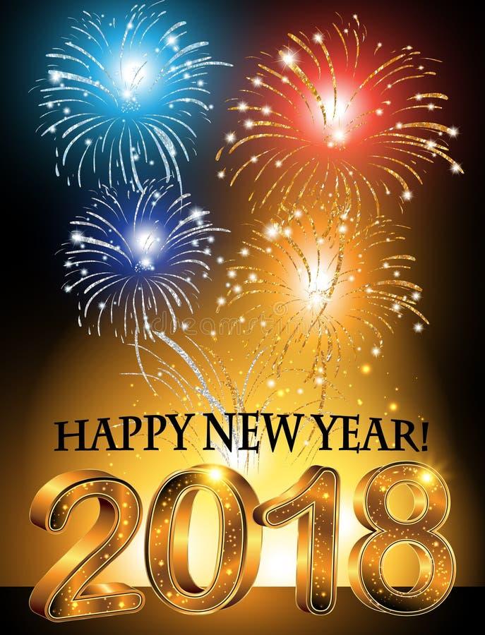 Gelukkige Nieuwjaar 2018 achtergrond/collectieve groetkaart stock illustratie