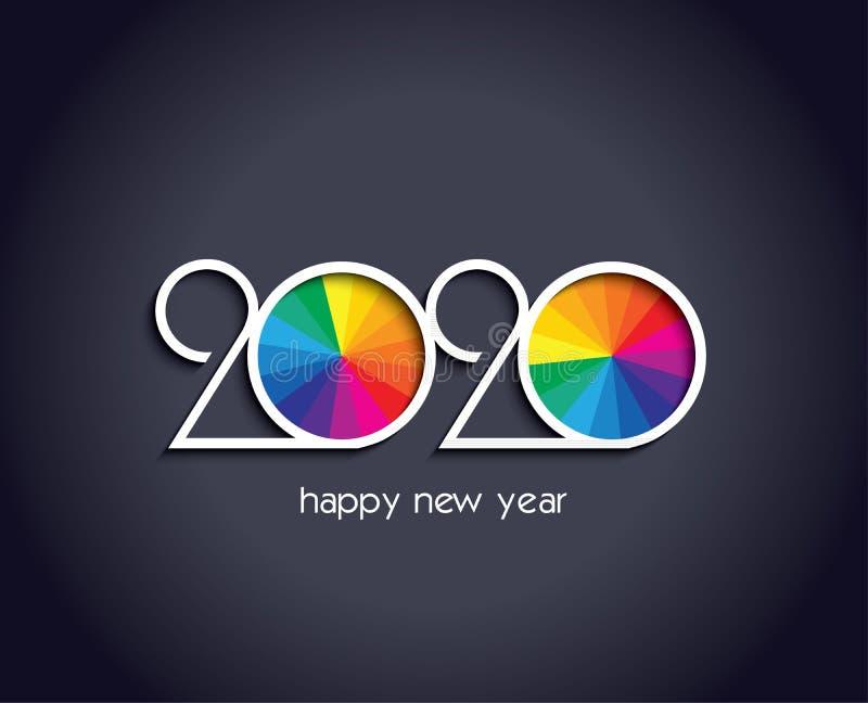 2020 Gelukkige Nieuwjaar achtergrond creatieve ontwerpkaart royalty-vrije illustratie