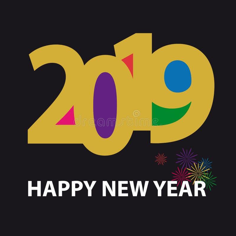 Gelukkige Nieuwjaar 2019 Achtergrond - Kleurrijke VectordieIllustratie met Vuurwerk - op Zwarte Achtergrond wordt geïsoleerd vector illustratie