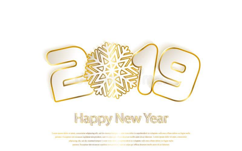 Gelukkige Nieuwjaar 2019 achtergrond met document knipsels Gouden nummer 1, 2, 9 en sneeuwvlok gesneden van document royalty-vrije illustratie