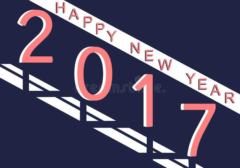 Gelukkige Nieuwjaar 2017 achtergrond Ontwerpachtergrond met Tekst stock afbeeldingen