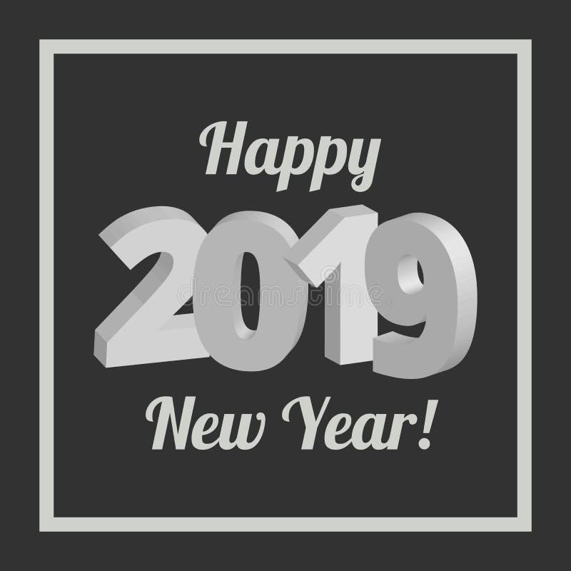 Gelukkige Nieuwjaar 2019 banner royalty-vrije illustratie