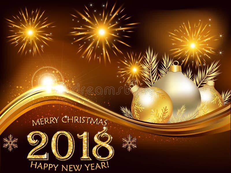 Gelukkige Nieuwjaar 2018 bruine achtergrond/groetkaart vector illustratie