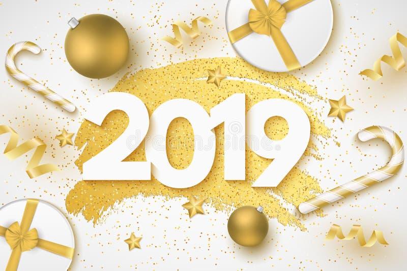 Gelukkige Nieuwjaar 2019 dekking 3d Aantallen Banner in grungestijl Giftdoos met band Kerstmisballen, sterren, confettien, lollys vector illustratie