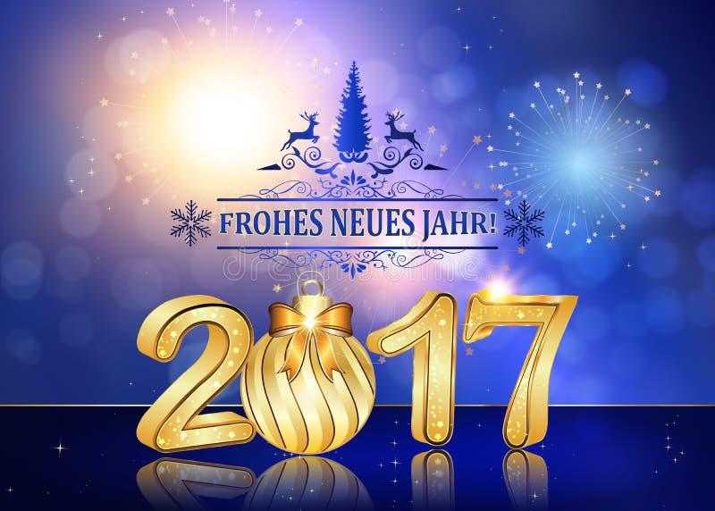 Gelukkige Nieuwjaar 2017 Duitstalige achtergrond stock illustratie