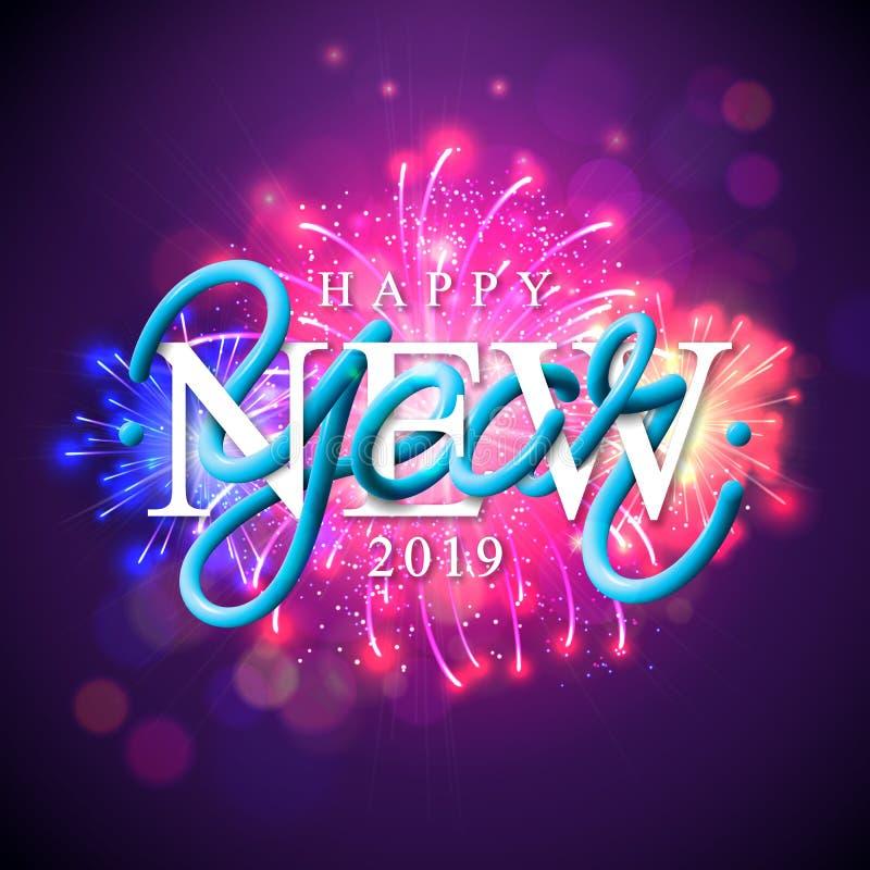 Gelukkige Nieuwjaar 2019 illustratie met vuurwerk en 3d typografiebrief op glanzende violette achtergrond Vectorvakantie stock illustratie