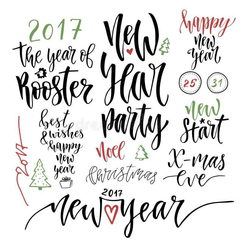 Gelukkige Nieuwjaar kalligrafische reeks Vectorillustratie met de citaten van de handschriftviering voor Kerstmisdecoratie stock illustratie