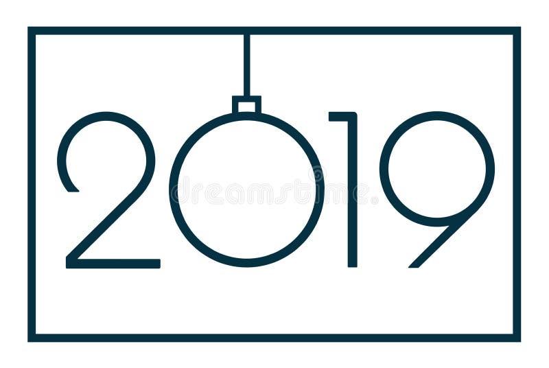 2019 Gelukkige Nieuwjaar of Kerstmis royalty-vrije illustratie