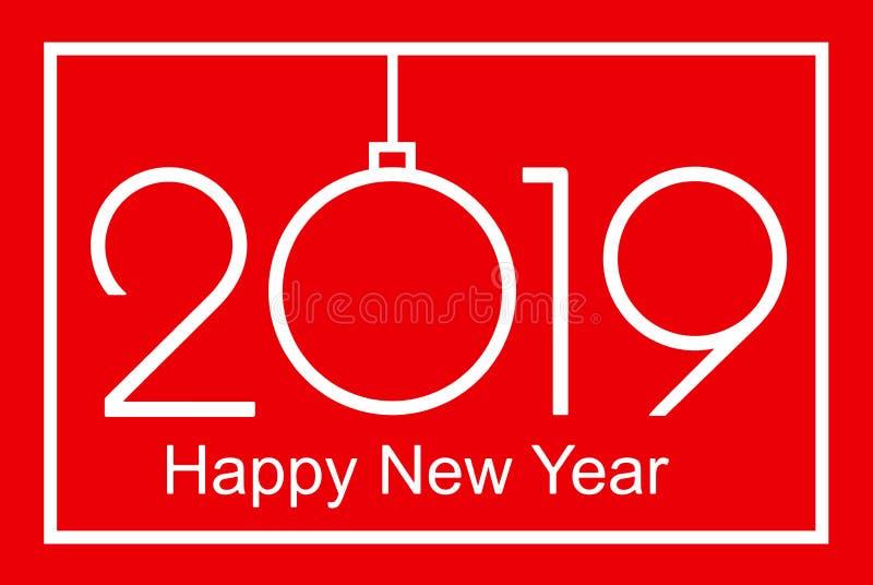 2019 Gelukkige Nieuwjaar of Kerstmis vector illustratie
